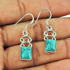 Party Wear Turquoise Gemstone Dangle Earrings Sterling Silver Fashion Jewellery