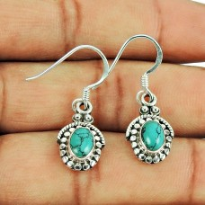 Amusable Turquoise Gemstone Ethnic Dangle Earrings 925 Sterling Silver Jewellery