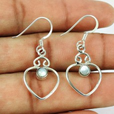 Heart Shape Mother Of Pearl Dangle Earrings 925 Sterling Silver Fashion Jewellery