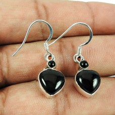 Excellent Black Onyx Gemstone Dangle Earrings 925 Sterling Silver Vintage Jewellery
