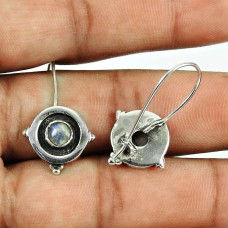 Designer Rainbow Moonstone Drop Earrings 925 Sterling Silver Indian Jewellery