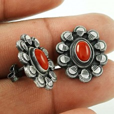 Interesting Coral Gemstone 925 Sterling Silver Stud Earrings Wholesale