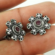 Circean Ruby Gemstone 925 Sterling Silver Stud Earrings Al por mayor