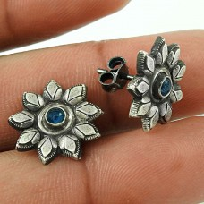 Delicate Blue Sapphire Gemstone 925 Sterling Silver Stud Earrings Wholesaling