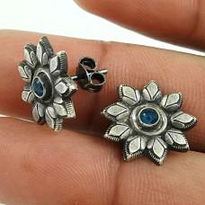 Enjoyable Blue Sapphire Gemstone 925 Sterling Silver Stud Earrings Wholesale