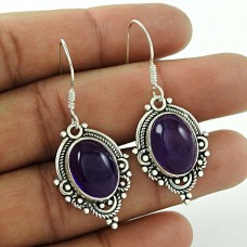 Sterling Silver Jewellery High Polish Amethyst Gemstone Earrings Al por mayor