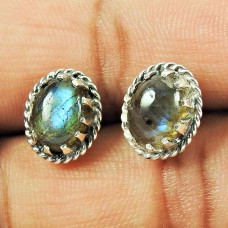 925 Sterling Silver Vintage Jewellery High Polish Labradorite Gemstone Stud Earrings Proveedor