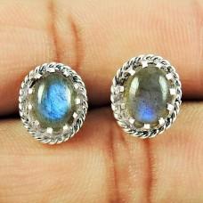 925 Sterling Silver Fashion Jewellery Ethnic Labradorite Gemstone Stud Earrings