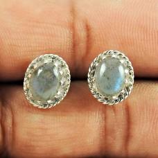 925 Sterling Silver Indian Jewellery Charming Labradorite Gemstone Stud Earrings
