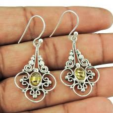 925 Sterling Silver Jewellery Charming Golden Rutile Gemstone Dangle Earrings