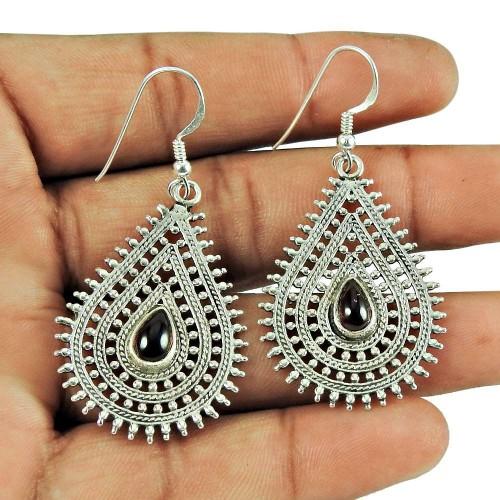 925 Sterling Silver Vintage Jewellery Fashion Garnet Gemstone Dangle Earrings Manufacturer