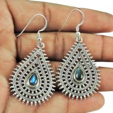 925 Sterling Silver Jewellery Traditional Labradorite Gemstone Dangle Earrings