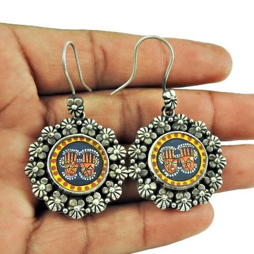 925 Sterling Silver Fashion Jewellery Charming Hamsa Picture Earrings De gros