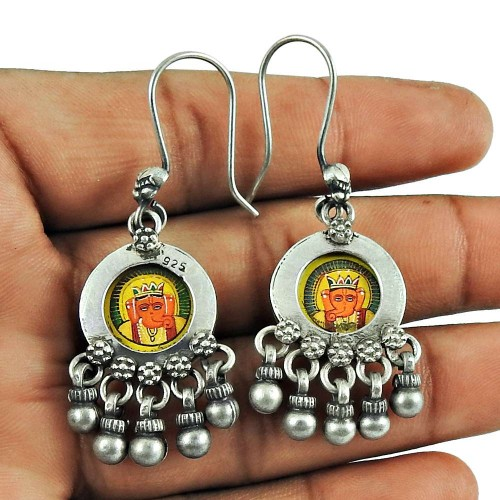 925 Sterling Silver Jewellery Fashion Lord Ganesha Picture Earrings