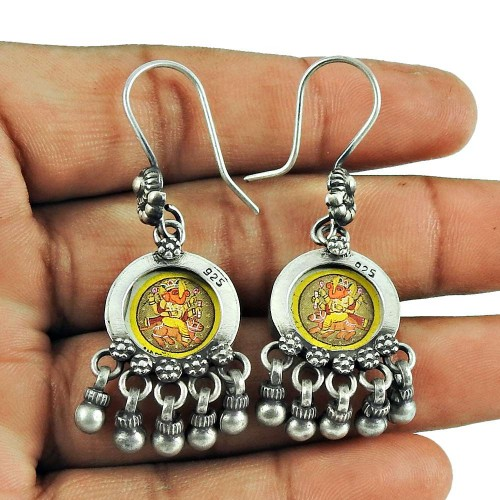925 Sterling Silver Jewellery Indian Fashion Ganesha Picture Earrings