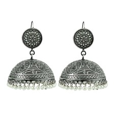 Oxidised Sterling Silver Jewellery Ethnic Pearl Jhumka Wholesale Price