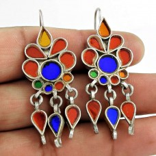 Beautiful 925 Sterling Silver Antique Glass Ethnic Earrings