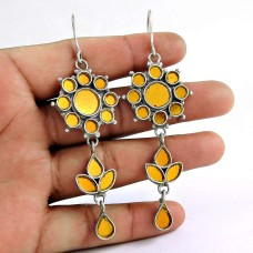 Ethnic 925 Sterling Silver Antique Glass Earrings