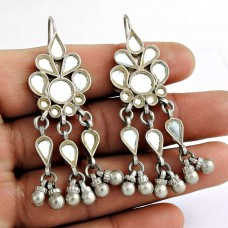 Rattling 925 Sterling Silver Antique Glass Earrings Traditional Silver Jewellery