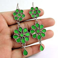 Stylish 925 Sterling Silver Antique Glass Fashion Earrings