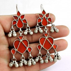 Beautiful 925 Sterling Silver Antique Glass Earrings Traditional Jewellery