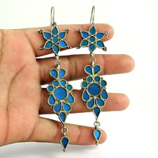 Designer 925 Sterling Silver Antique Glass Earrings Ethnic Fashion Jewellery