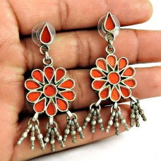Designer 925 Sterling Silver Antique Glass Earrings Traditional Jewellery