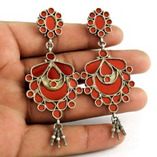 Rare 925 Sterling Silver Antique Glass Earrings Ethnic Jewellery