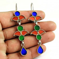 Party Wear 925 Sterling Silver Antique Glass Earrings