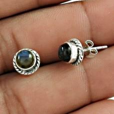 Fabulous 925 Sterling Silver Labradorite Gemstone Stud Earring