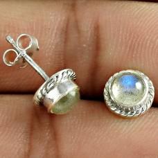 Pretty Labradorite Gemstone 925 Sterling Silver Stud Earring Jewelry