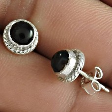 Stunning Black Star Gemstone 925 Sterling Silver Stud Earring Jewelry