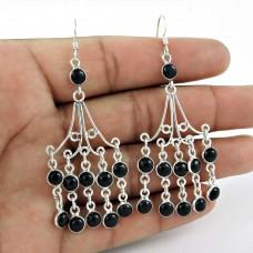 Well-Favoured 925 Sterling Silver Black Onyx Gemstone Earring Jewelry Al por mayor