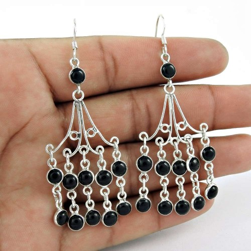 Well-Favoured 925 Sterling Silver Black Onyx Gemstone Earring Jewelry Al por mayor