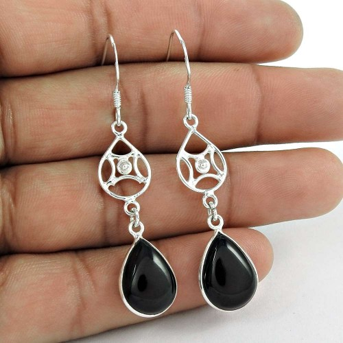 Beautiful 925 Sterling Silver Black Onyx Gemstone Earring Jewelry