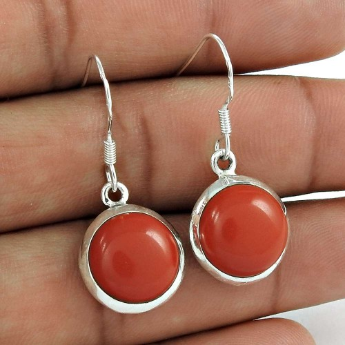 Excellent 925 Sterling Silver Red Onyx Gemstone Earring Vintage Jewelry