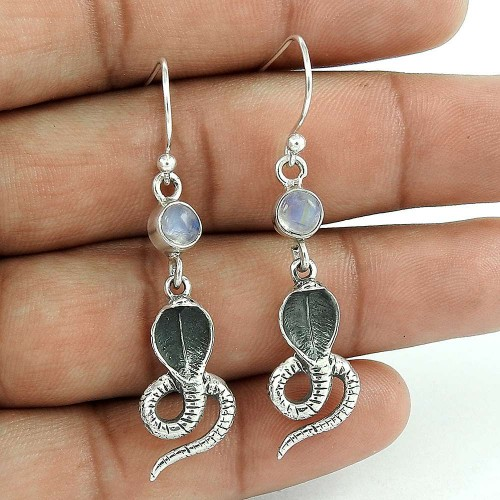 Trendy 925 Sterling Silver Rainbow Moonstone Gemstone Ethnic Earring Jewelry