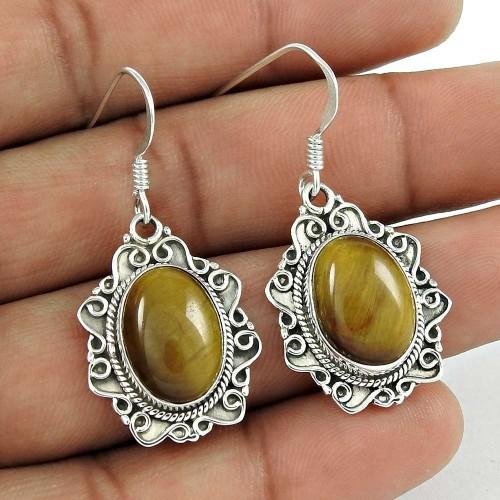 Latest Trend 925 Sterling Silver Tiger Eye Gemstone Earring Vintage Jewelry