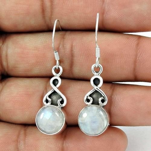 Rare 925 Sterling Silver Rainbow Moonstone Gemstone Earring Ethnic Jewelry