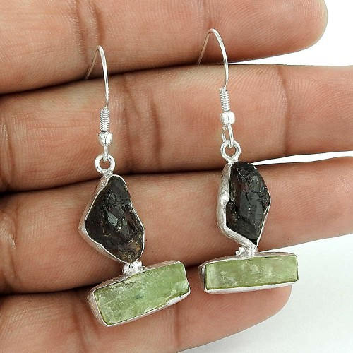 Latest Trend 925 Sterling Silver Garnet Prehnite Rough Stone Earring Vintage Jewelry