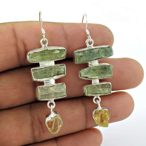 Fashion 925 Sterling Silver Citrine Prehnite Rough Stone Earring Antique Jewelry
