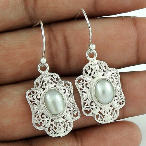 Party Wear 925 Sterling Silver Pearl Earring Ethnic Jewelry