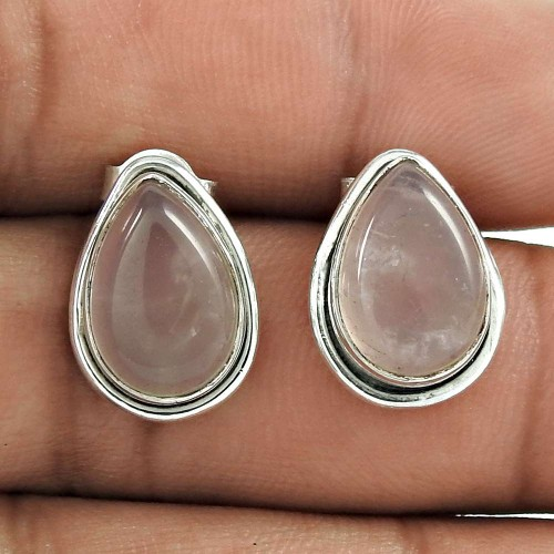 Lovely 925 Sterling Silver Rose Quartz Gemstone Stud Earring Vintage Jewelry