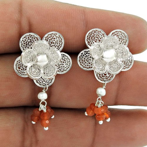 Flower Earring 925 Sterling Silver Mother of Pearl Carnelian Gemstone Jewelry