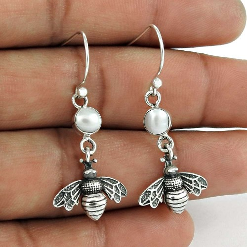 Stylish 925 Sterling Silver Pearl Earring Jewelry