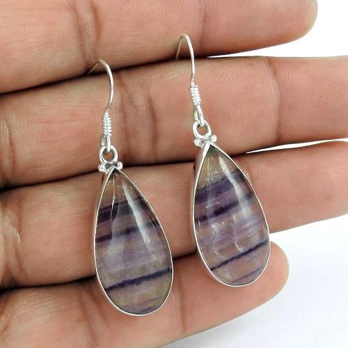 Lustrous 925 Sterling Silver Fluorite Gemstone Earring Ethnic Jewelry
