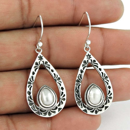 Trendy 925 Sterling Silver Natural White Pearl Ethnic Earring Jewelry