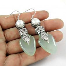Dainty 925 Sterling Silver Pearl Chalcedony Gemstone Earring Vintage Jewelry