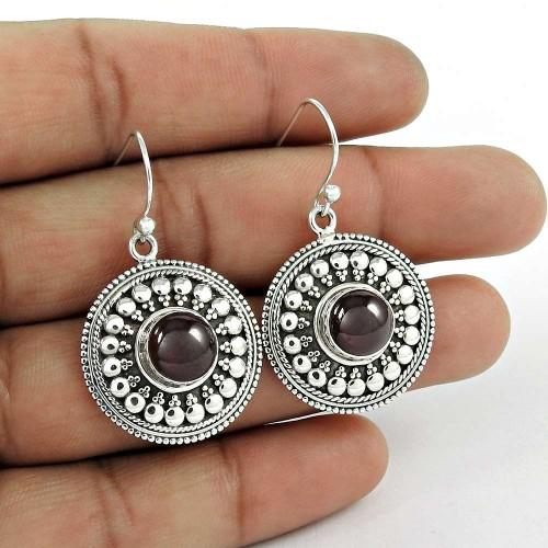 Amusable 925 Sterling Silver Natural Garnet Gemstone Earring Jewelry Mayorista
