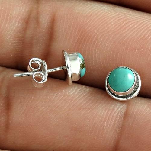 Pale Beauty 925 Sterling Silver Turquoise Gemstone Stud Earring